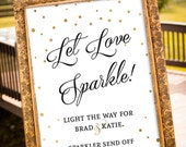 PRINTABLE - Sparkler Send off Sign, Let love sparkle sign, Gold Wedding Decor, Black & Gold Party Decor, Large Custom Wedding Sign, Art Deco