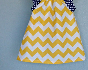 Dress - chevron yellow, zigzag navy blue polka dots baby 0-3, 3-6, 6-12, 12-18,18-24, 2T, 3T 4T 5T 6 7 nautical birthday Spring Easter