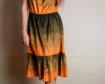 Vintage 1970s Dress - Ombre Orange and Black Speckled Summer Dress - Large XL