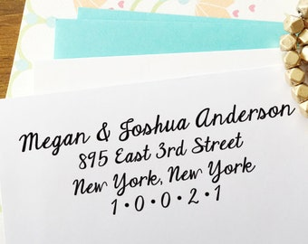 CUSTOM self inking address STAMP with proof, Eco Friendly self inking custom address stamp, personalized stamper from USA - Calligraphy 60