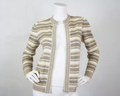 30% SALE - Escada by SRB Rare 1970's Vintage Gold Metallic Striped Cardigan Sweater