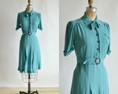 1940s Blue Dress --- Vintage Short Day Dress
