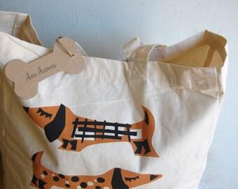 Retro Teckels Hand Screenprinted Big Shopper Bag