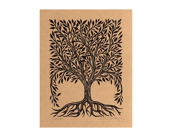 Tree Art - Tree Linocut - Decorative Tree Linocut Art Print - Nature Wall Art -  Linocut Print - Nature Art