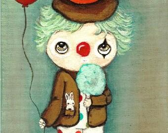 Clown Print Birthday Boy Blue Cotton Candy Clown Art 5 x 7