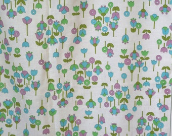 vintage MOD cotton flannel fabric - lollipop flowers - tulips - 60s retro