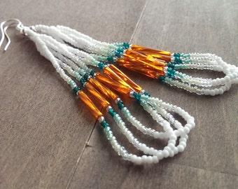 Native American beaded earrings - white orange and green beadwork earrings - seed beaded earrings