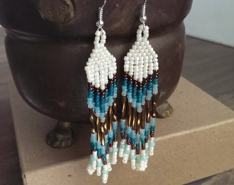 Native American beaded earrings - cream and teal earrings - beadwork earrings - seed beaded earrings