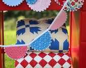 Summer Fabric Bunting - Red White Blue - Independence 4th of July Banner