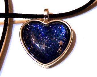 starry sky heart pendant on velvet cord