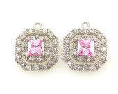 Pink Cubic Zirconia Earring Findings Pink Silver Earring Dangles Pink Bridal Double Halo Earring Findings Pendant Charms |R6-1|2