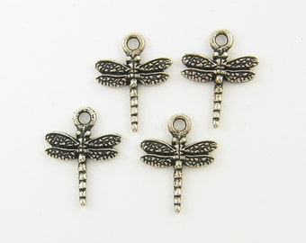 Dragonfly Charms Antique Silver Dragonfly Earring Charms Dimensional Dragonflies Insect Nature Jewelry Pendant |S11-10|2