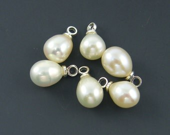 Small Cream White Pearl Teardrop Beads with Silver Loop 10mm x 6mm 10x6 Pearl Drop |WH1-1|6