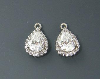 Clear Teardrop Charm Cubic Zirconia Pendant CZ Clear Rhinestone Silver Drop Dainty Delicate Bridesmaid Earring Supply |S8-5|2