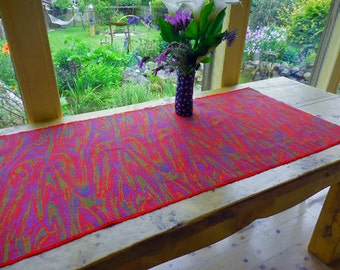 Red, Purple & Green Paisly Woven Table Runner