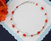 Coral Anklet and Sterling Silver, Red Anklet, Silver Anklet, Beach, Vacation, Coral Anklet, Orange Coral, Red, Beach Wedding, Bridesmaid