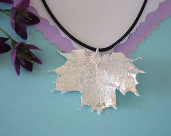Real Sugar Maple Leaf, Real Silver Leaf, Maple Leaf Necklace, Canadian Leaf, Sterling Silver, LL141