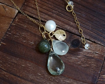 Long 14kt Gold Green Amethyst Teardrop Necklace - Pearl Necklace - Sand Dollar Necklace - Beach Necklace - Mint Green Stone Cluster Necklace