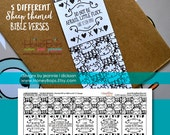 Printable Sheep themed Bookmarks with 5 different Bible verses - PDF digital File Only