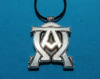 Alpha Omega Pendant Handmade in Silver Pewter, Necklace STK183