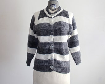 Vintage Grey Striped Sweater • Grey Sweater • Striped Cardigan • 60s Sweater • 1960s Sweater • Cropped Sweater • 1960s Gray Sweater • Ombre