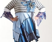 XL Ladies Bohemian Tunic/ Blue and Grey/ Plus Sized Upcycled Top /Painted Flower/ brendaabdullah