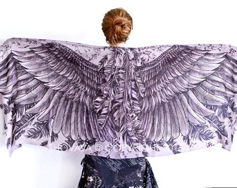 Purple scarf, Hand painted Wings and feathers, stunning unique and useful, perfect Valentine gifts.