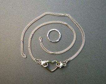 2 Sterling Silver Cable Chains with Connector for Link Necklaces Double Floating Chain Convertible Chain