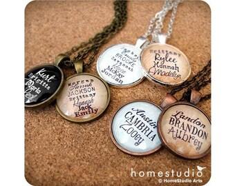 Custom Children Grandchildren Names : Glass Dome Necklace or Key Ring, Keychain personalized jewelry. Mom, Grandma, Nana, Mimi adoption gift