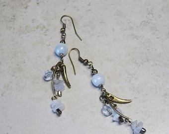 Antique Brass Blue Glass Beaded Dangle Earrings, Blue Glass Beaded Earrings, Antique Brass Earrings
