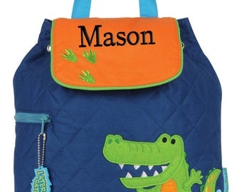 Boys Backpack Personalized Alligator Quilted Stephen Joseph Toddler Preschool