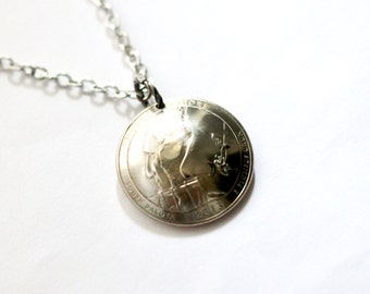 U.S. Quarter Coin Necklace, Pendant, Mount Rushmore, South Dakota, America the Beautiful, 2013 Jewelry Hendywood