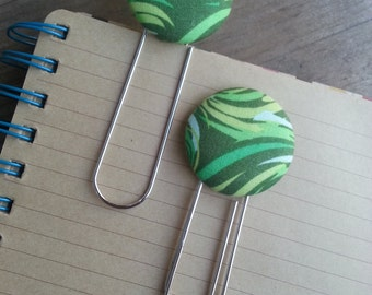 2 Jumbo Olive, Celery and Lime Green Abstract Designed Fabric Covered Button Bookmarks with Large Paper Clip