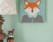 Forest Animal Portrait, Fox illustration Childrens Art, Canvas print, 12x12 print nursery artwork, kids wall art