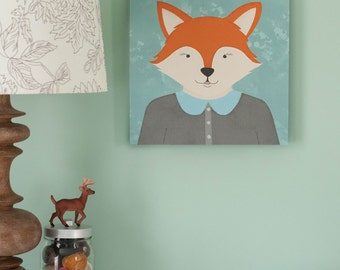 Forest Animal Portrait, Fox illustration Childrens Art, Canvas print, 12x12 print nursery artwork, kids wall art