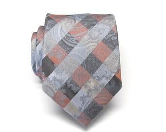 Paisley Mens Ties. Gray Silver Rust Orange Paisley Silk Neckties