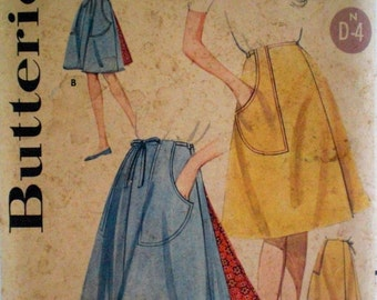 Vintage 1960s Wrap Skirt Pattern Butterick 2643 Waist 26 Factory Folded