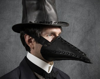 Corax Riveted Plague Doctor half mask in Black