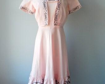 Spirograph dress | vintage 1950s dress • 50s sundress with bolero