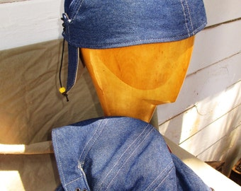 Organic Cotton Doorag/ Skullcap in Blue Jean Denim