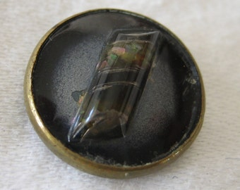 Small ANTIQUE Raised Log Design Under Glass Button