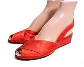 1930s Shoes, Red Silk Slingback Wedges, Bonwit Teller Flats, Low Wedge Sandals size 7