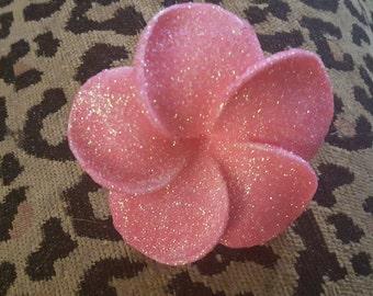 Pink,Green glittered, Glitter flower, Burlesque, Pink plumeria, Glitter, Pinup, Hair flower, MsFormaldehyde, Plumeria, Tiki