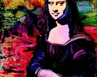 Mona Lisa Abstract Original Painting - Alcohol Inks on Yupo Painting - Modern Mona Lisa Art - Parody Original Painting - Leonardo Da Vinci