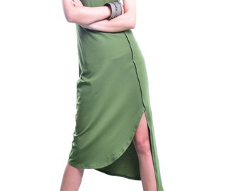 Long long dress - idea2lifestyle asymmetrical cotton tunic dress / sleeveless cotton sleeveless dress / green cotton dress  (Q3116S)
