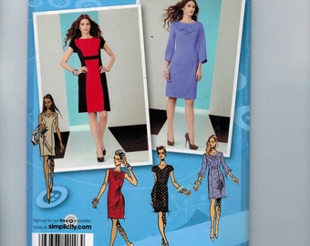 Misses Sewing Pattern Simplicity 2146 Misses and Petite Shift Dress Size 4 6 8 10 12 Bust 29 30 31 32 34 UNCUT  99