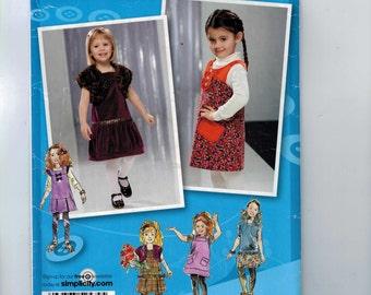 Kids Sewing Pattern Simplicity 2574 Girls Jumper Dress Shrug Drop Waist Size 1/2 1 2 3 4 5 6 7 8 Breast 19 20 21 22 23 24 25 26 27 UNCUT  99