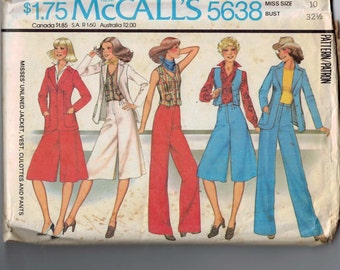 1970s Vintage Sewing Pattern McCalls 5638 Misses Pantskirt Culottes Pants Jacket and Vest Size 10 Bust 32 1977 70s B32  99