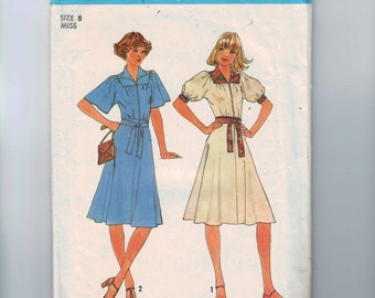 1970s Vintage Sewing Pattern Simplicity 7845 Misses Dress Size 8 Breast 31 32 1976 70s  99