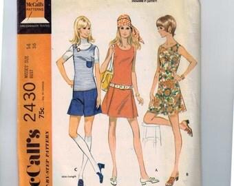 1970s Vintage Sewing Pattern McCalls 2430 Misses Pantsdress Shorts Mini Jumper Size 14 Bust 36 1970 70s  99